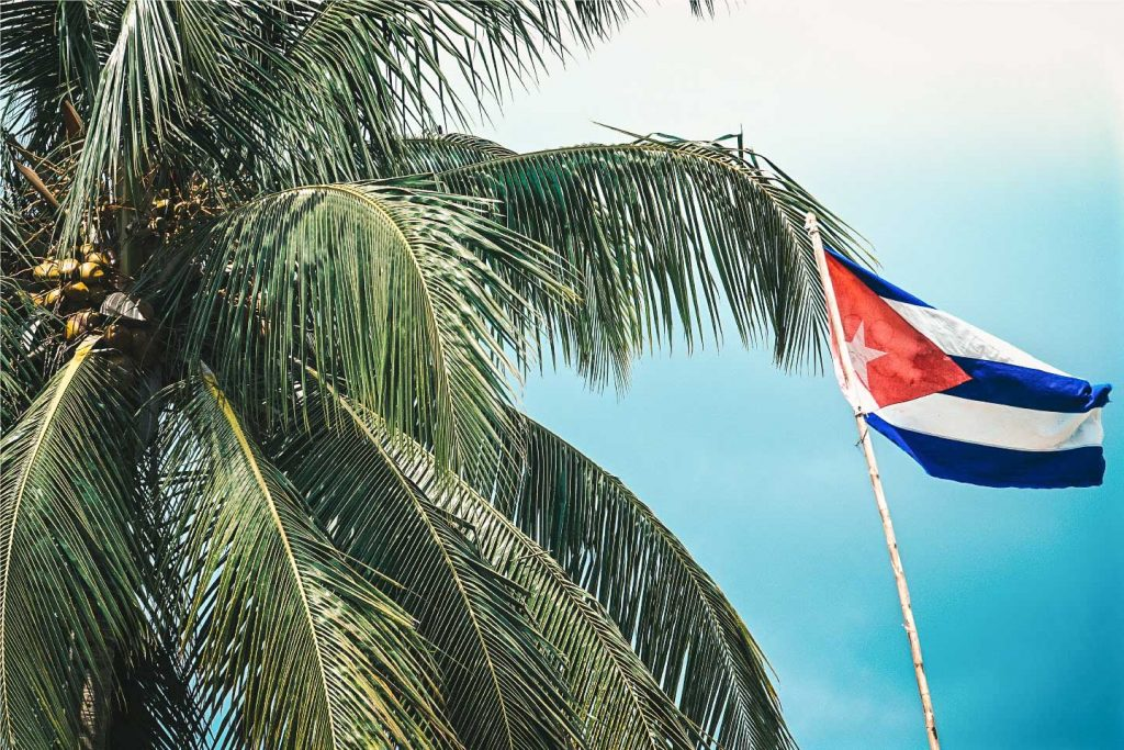 Cuban Flag and palm tree, let the adventure begin
