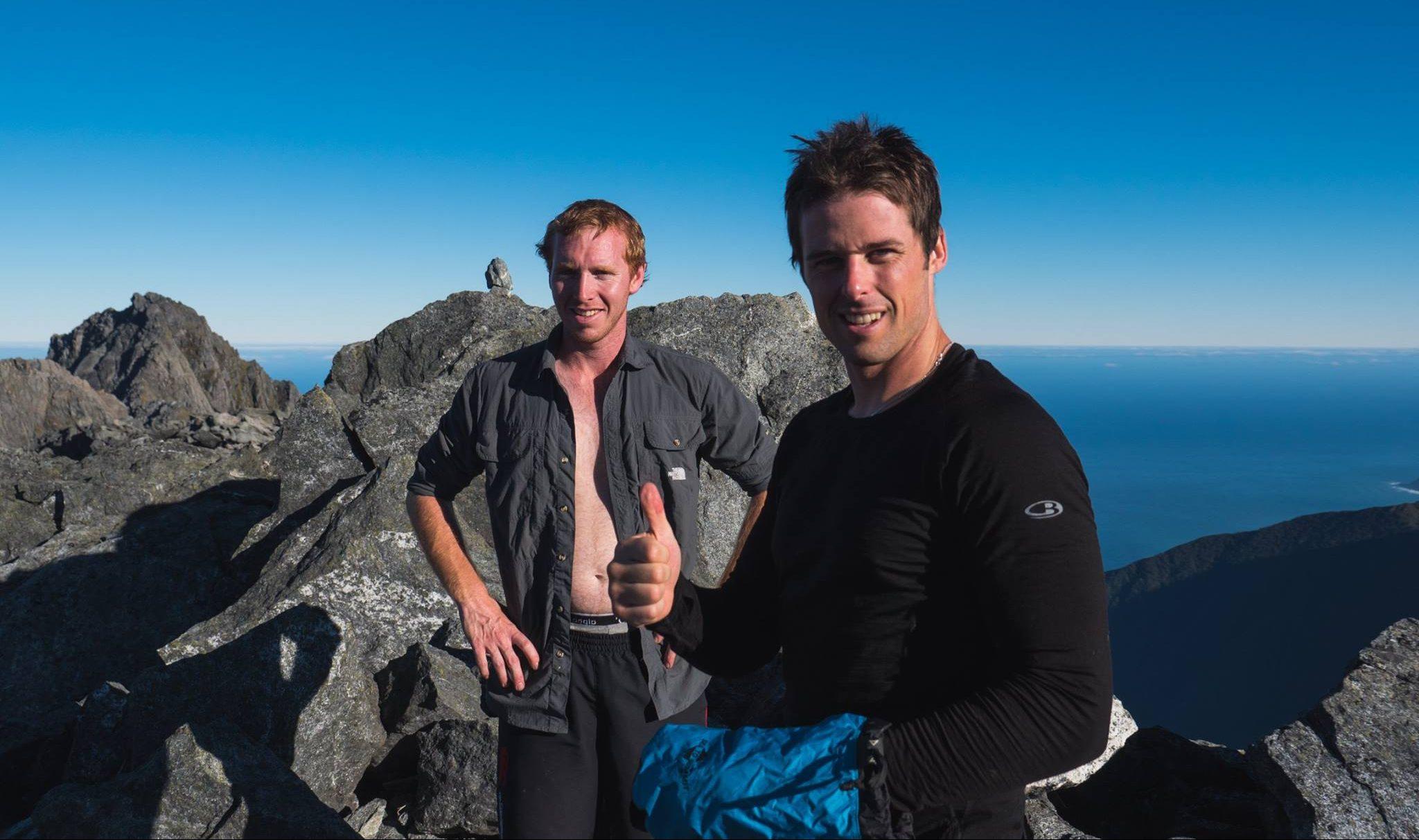 At the summit of Mitre Peak