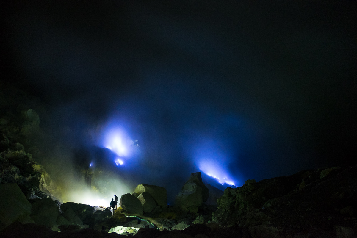 The blue flames from Ijen Volcano